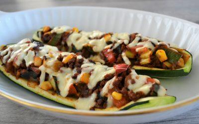 Mexicaans gevulde courgette uit de oven